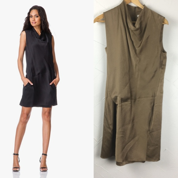 0b54deeb77ee Helmut Lang Dresses & Skirts - Helmut Lang Drape Neck Overlay Dress - Gravel  Silk